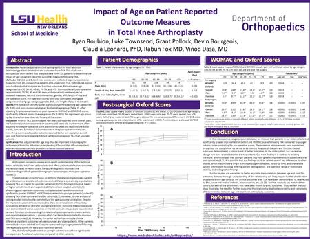 Impact of Age on Patient Reported Outcome Measures in Total Knee Arthroplasty Impact of Age on Patient Reported Outcome Measures in Total Knee Arthroplasty.