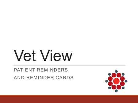 Vet View PATIENT REMINDERS AND REMINDER CARDS. Patient Reminders /Reminder Cards  Plan to address major limitations in UVIS:  Fix issues with recurrences.