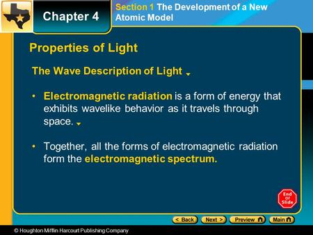 Chapter 4 © Houghton Mifflin Harcourt Publishing Company Section 1 The Development of a New Atomic Model Properties of Light The Wave Description of Light.