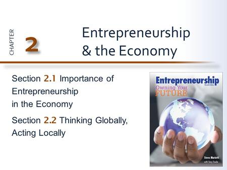 CHAPTER Section 2.1 Importance of Entrepreneurship in the Economy Section 2.2 Thinking Globally, Acting Locally Entrepreneurship & the Economy.