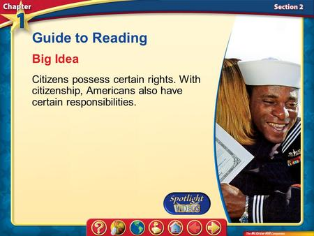 Section 2-Main Idea Guide to Reading Big Idea Citizens possess certain rights. With citizenship, Americans also have certain responsibilities.