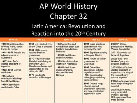 AP World History Chapter 32 Latin America: Revolution and Reaction into the 20 th Century.