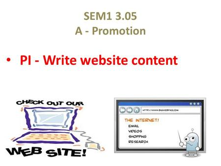 SEM1 3.05 A - Promotion PI - Write website content.