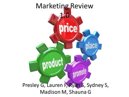 Marketing Review 1.0 Presley G, Lauren F, Ryan S, Sydney S, Madison M, Shauna G.