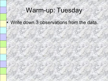 Warm-up: Tuesday Write down 3 observations from the data.
