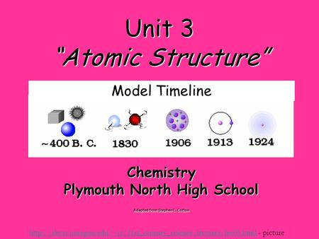 "Unit 3 ""Atomic Structure"" Chemistry Plymouth North High School Adapted from Stephen L. Cotton"