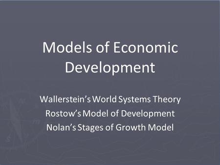 Models of Economic Development