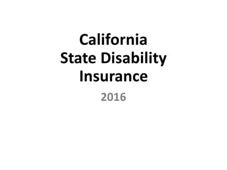 California State Disability Insurance