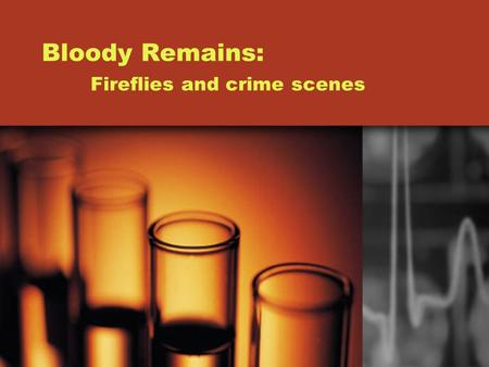 Bloody Remains: Fireflies and crime scenes Blood and Crime blood When you think about a crime, you usually visualize bloody walls, floor, and maybe even.