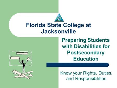 Florida State College at Jacksonville Preparing Students with Disabilities for Postsecondary Education Know your Rights, Duties, and Responsibilities.