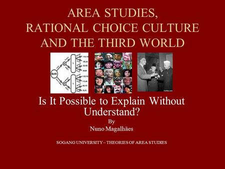 AREA STUDIES, RATIONAL CHOICE CULTURE AND THE THIRD WORLD Is It Possible to Explain Without Understand? By Nuno Magalhães SOGANG UNIVERSITY – THEORIES.