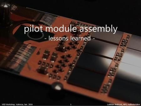 VXD Workshop, Valencia, Jan. 2016 Ladislav Andricek, MPG Halbleiterlabor 1 pilot module assembly - lessons learned -