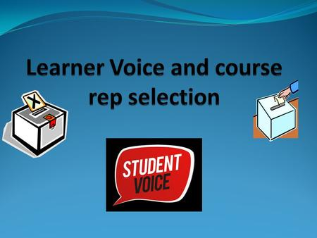 Objectives YWBAT You will be able to understand how to select your course representative and understand what the learners voice is. Enabling objectives.