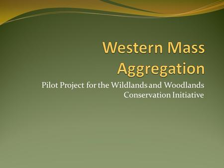 Pilot Project for the Wildlands and Woodlands Conservation Initiative.