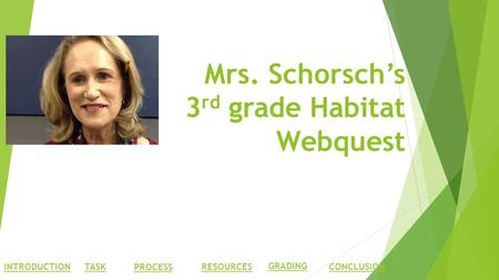 Mrs. Schorsch's 3 rd grade Habitat Webquest INTRODUCTIONTASK PROCESS RESOURCES GRADING CONCLUSION.