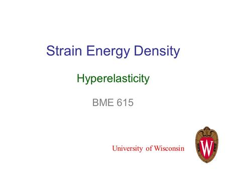 Strain Energy Density Hyperelasticity BME 615 University of Wisconsin.