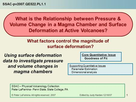 1 Using surface deformation data to investigate pressure and ...
