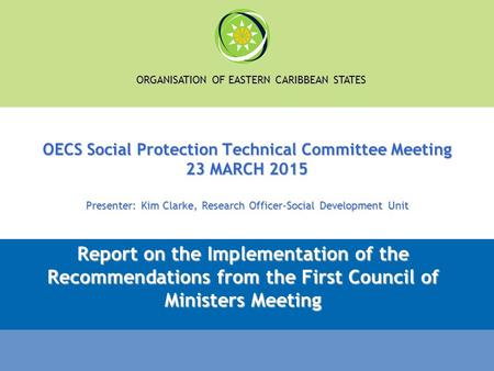 ORGANISATION OF EASTERN CARIBBEAN STATES OECS Social Protection Technical Committee Meeting 23 MARCH 2015 Presenter: Kim Clarke, Research Officer-Social.