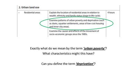 Exactly what do we mean by the term 'urban poverty'? What characteristics might this have? Can you define the term 'deprivation'?