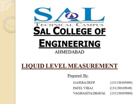 SAL COLLEGE OF ENGINEERING AHMEDABAD LIQUID LEVEL MEASUREMENT