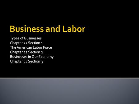 Types of Businesses Chapter 22 Section 1 The American Labor Force Chapter 22 Section 2 Businesses in Our Economy Chapter 22 Section 3.