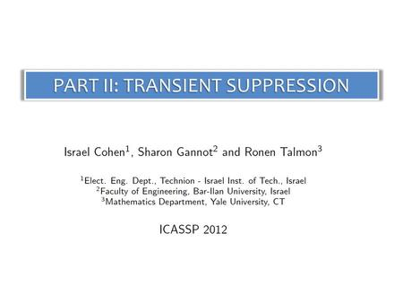 PART II: TRANSIENT SUPPRESSION. IntroductionIntroduction Cohen, Gannot and Talmon\11 2 Transient Interference Suppression Transient Interference Suppression.