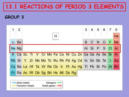13.1 REACTIONS OF PERIOD 3 ELEMENTS