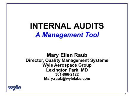1 Mary Ellen Raub Director, Quality Management Systems Wyle Aerospace Group Lexington Park, MD 301-866-2122 INTERNAL AUDITS A Management.