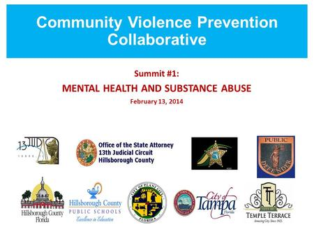 Community Violence Prevention Collaborative Summit #1: MENTAL HEALTH AND SUBSTANCE ABUSE February 13, 2014.