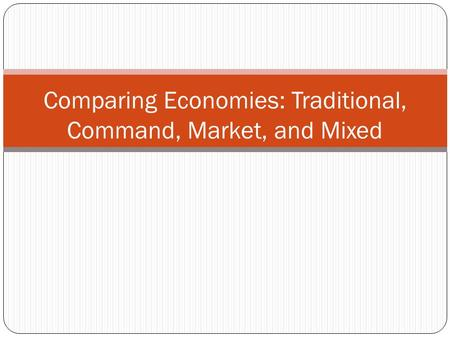 Comparing Economies: Traditional, Command, Market, and Mixed.