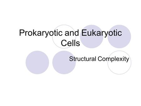 Prokaryotic and Eukaryotic Cells Structural Complexity.