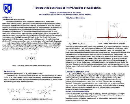 Towards the Synthesis of Pt(IV) Analogs of Oxaliplatin Anyu Gao, Lea Nyiranshuti and Dr. Roy Planalp Parsons Hall, 23 Academic.