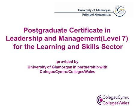 Postgraduate Certificate in Leadership and Management(Level 7) for the Learning and Skills Sector provided by University of Glamorgan in partnership with.