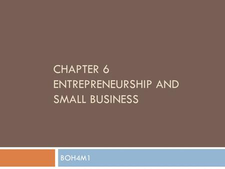 CHAPTER 6 ENTREPRENEURSHIP AND SMALL BUSINESS BOH4M1.