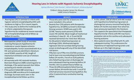 Hearing Loss in Infants with Hypoxic Ischemic Encephalopathy Ayman Khmour 1, Kim Hunter 1, Allison Knutson 1, Krishna Kumar 2 1 Children's Mercy Hospital,