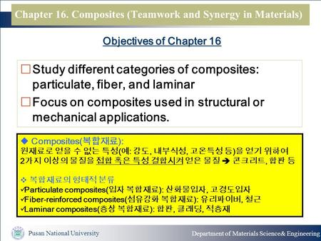 Pusan National University Department of Materials Science& Engineering Objectives of Chapter 16  Study different categories of composites: particulate,
