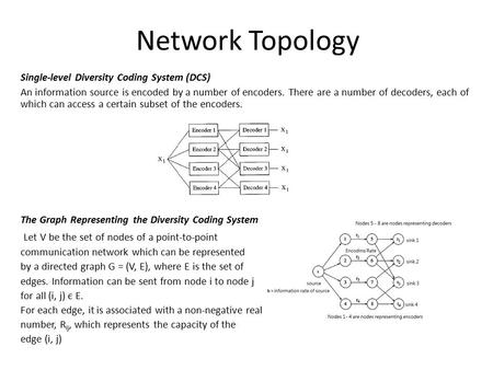 Network Topology Single-level Diversity Coding System (DCS) An information source is encoded by a number of encoders. There are a number of decoders, each.