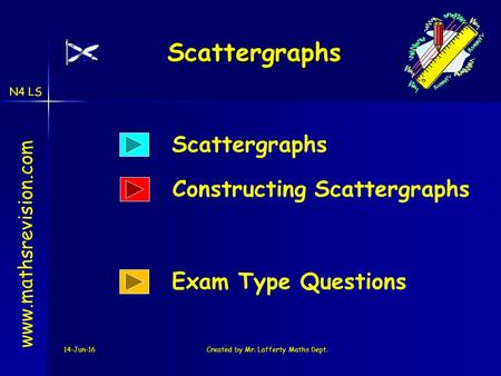 N4 LS 14-Jun-16Created by Mr. Lafferty Maths Dept. Scattergraphs www.mathsrevision.com Scattergraphs Exam Type Questions Constructing Scattergraphs.