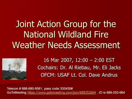 Joint Action Group for the National Wildland Fire Weather Needs Assessment 16 Mar 2007, 12:00 – 2:00 EST Cochairs: Dr. Al Riebau, Mr. Eli Jacks OFCM: USAF.