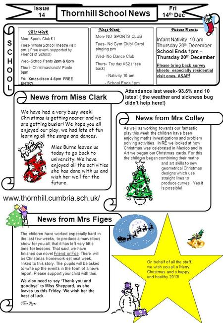 Thornhill School News Issue 14 Fri 14 th Dec News from Miss Clark News from Mrs Colley SCHOOLSCHOOL www.thornhill.cumbria.sch.uk/ This Week Future EventsNext.