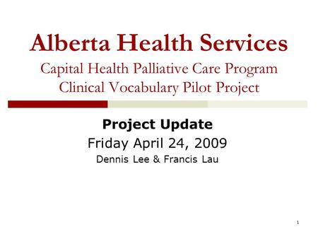 1 Alberta Health Services Capital Health Palliative Care Program Clinical Vocabulary Pilot Project Project Update Friday April 24, 2009 Dennis Lee & Francis.