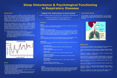 Sleep Disturbance & Psychological Functioning in Respiratory Diseases Daljinder Virk 1, Rebecca Stores 1 & Anoop Chauhan 2 1 School of Health Sciences.