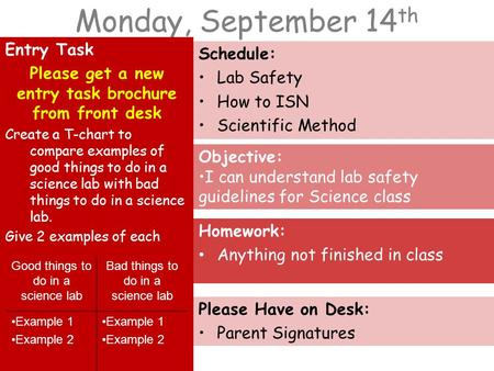Monday, September 14 th Entry Task Please get a new entry task brochure from front desk Create a T-chart to compare examples of good things to do in a.