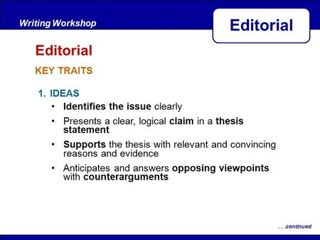After Reading KEY TRAITS Writing Workshop Editorial...continued 1.IDEAS Identifies the issue clearly Presents a clear, logical claim in a thesis statement.