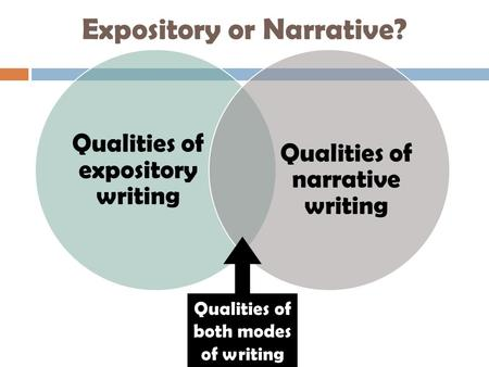 Expository or Narrative? Qualities of expository writing Qualities of narrative writing Qualities of both modes of writing.