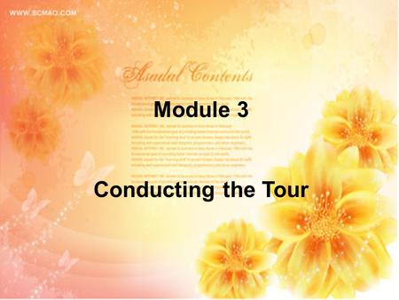 Module 3 Conducting the Tour. Module 3 Conducting the Tour Project 5: Culture I. Project Objectives: By completing this project, you will be able to: