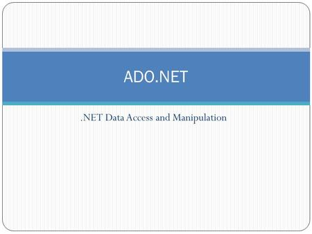 .NET Data Access and Manipulation