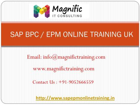 SAP BPC / EPM ONLINE TRAINING UK    Contact Us : +91-9052666559