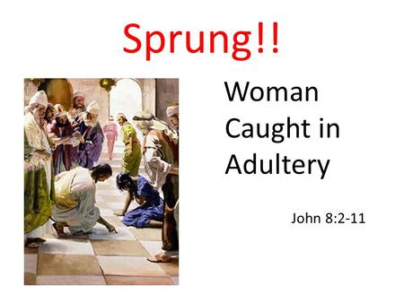 Sprung!! Woman Caught in Adultery John 8:2-11. 2 At dawn he appeared again in the temple courts, where all the people gathered around him, and he sat.