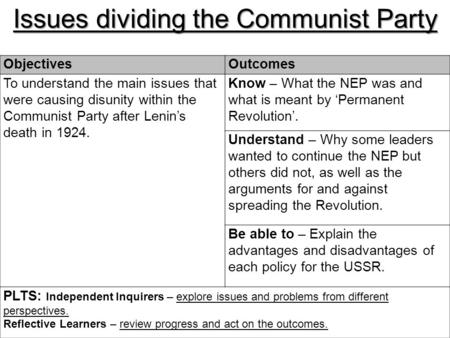 Issues dividing the Communist Party ObjectivesOutcomes To understand the main issues that were causing disunity within the Communist Party after Lenin's.